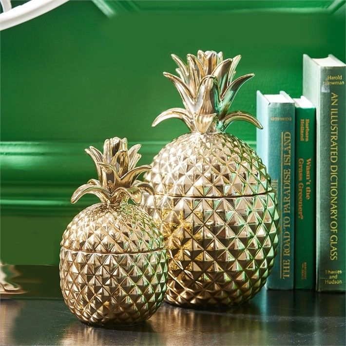 Lovely Twos Company Toazi Golden Pineapple Jars Set Of 2 Golden Hospitality Gold  Pineapple Ceramic