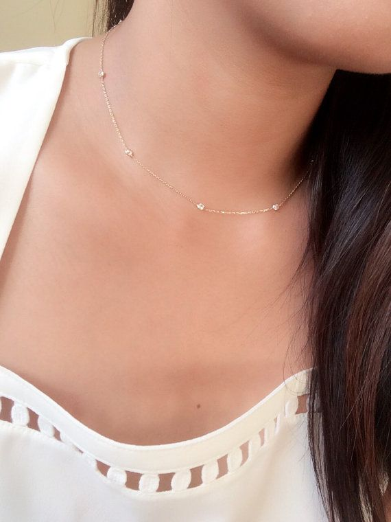 Anniversary Gifts Bridesmaid Gift Bride Choker Necklace Dainty Choker Necklace Y-shaped Love Pendant Necklace Heart to Heart Necklace