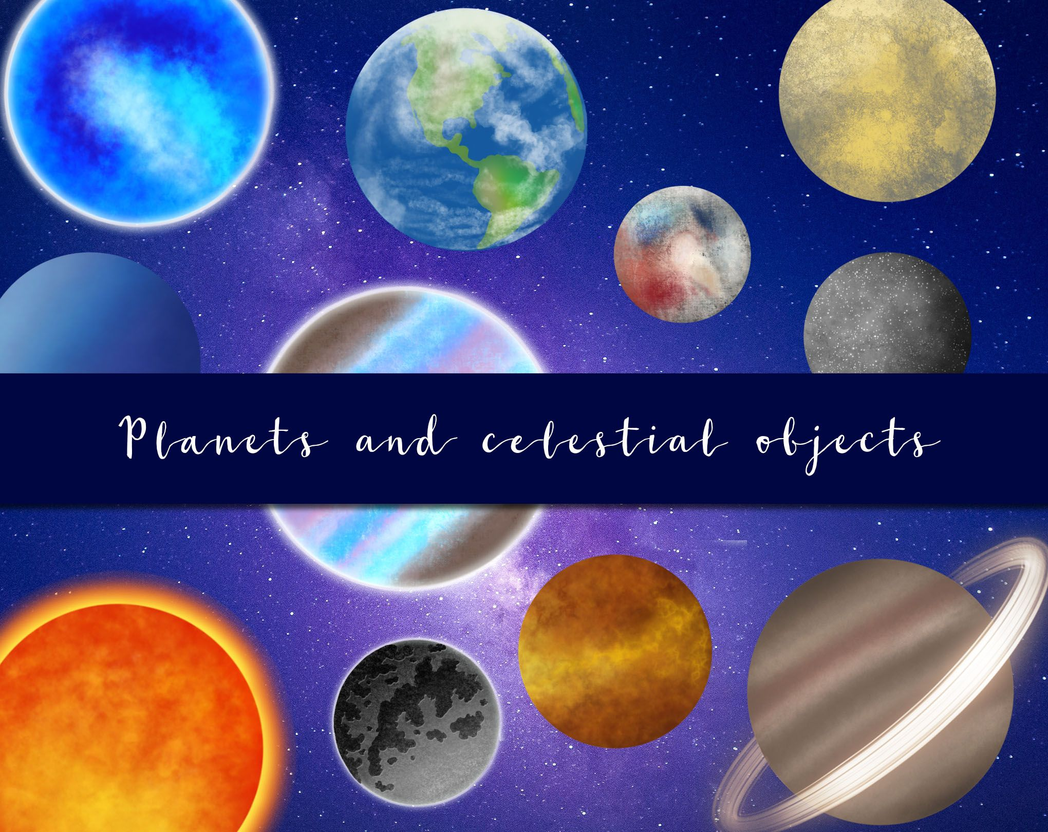 Planets And Celestial Objects Hand Drawn Cosmic Universe