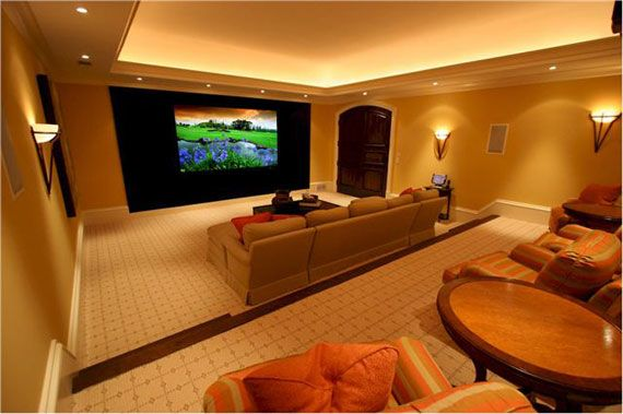 Gold Living Room Theatre Style Home Theater Rooms Living Room