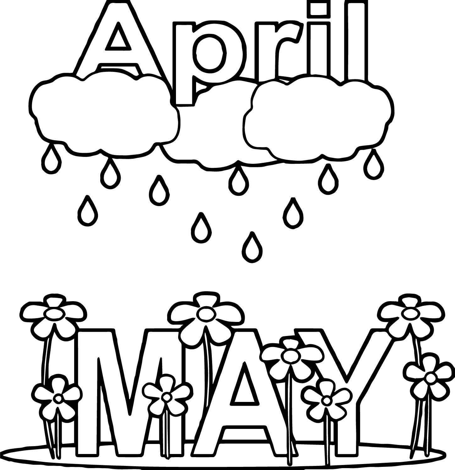Nice April Shower May Rain Flower Coloring Page Printable Coloring Pages Flower Coloring Pages Spring Coloring Pages