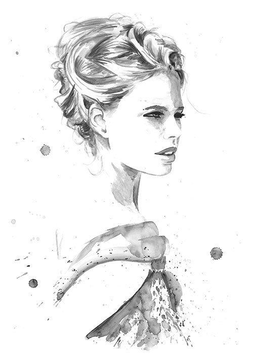 Print from Original Watercolor Fashion Illustration Modern