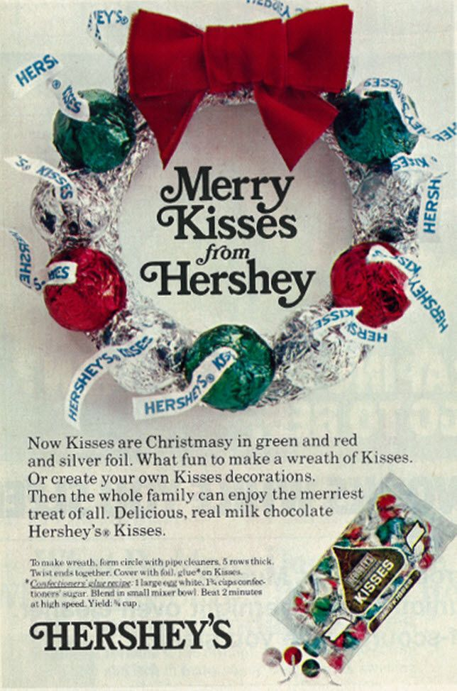 1975 Christmas Ad, Hershey's Kisses Candy | Kisses candy, Family ...