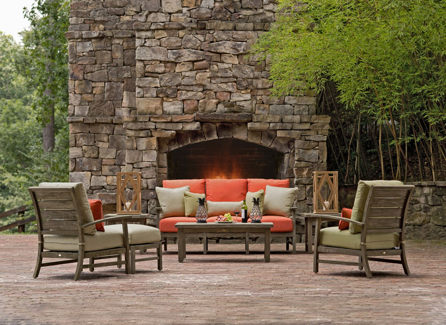 Charleston Teak Outdoor Furniture Set with Colores Outdoor Fabrics ...