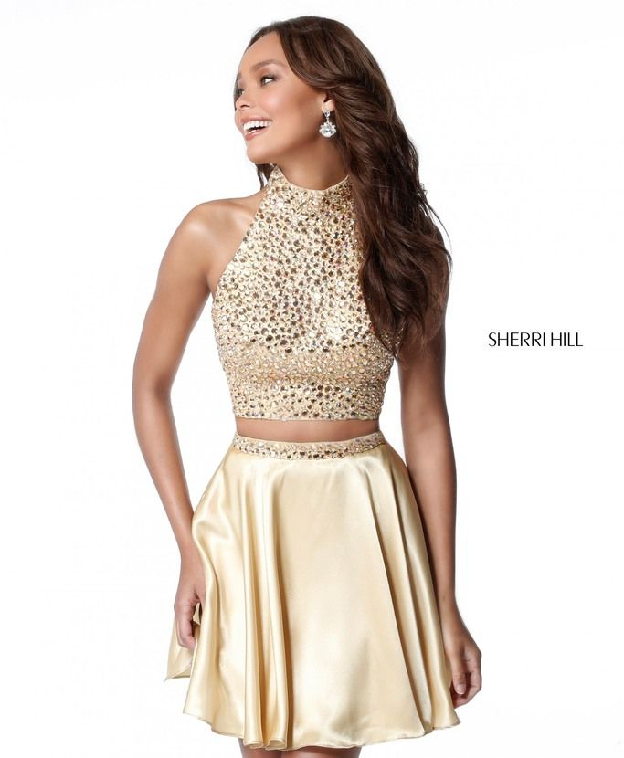 Sherri Hill Beaded 51540 Two Piece Gold Short Satin Prom Dress