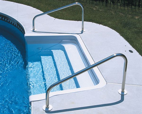 Deck Mounted Stair Pool Hand Rail By S R Smith Wise Pool Spa Swimming Pools Swimming Pool Idea Pool Rails Above Ground Pool Steps Swimming Pool Ladders