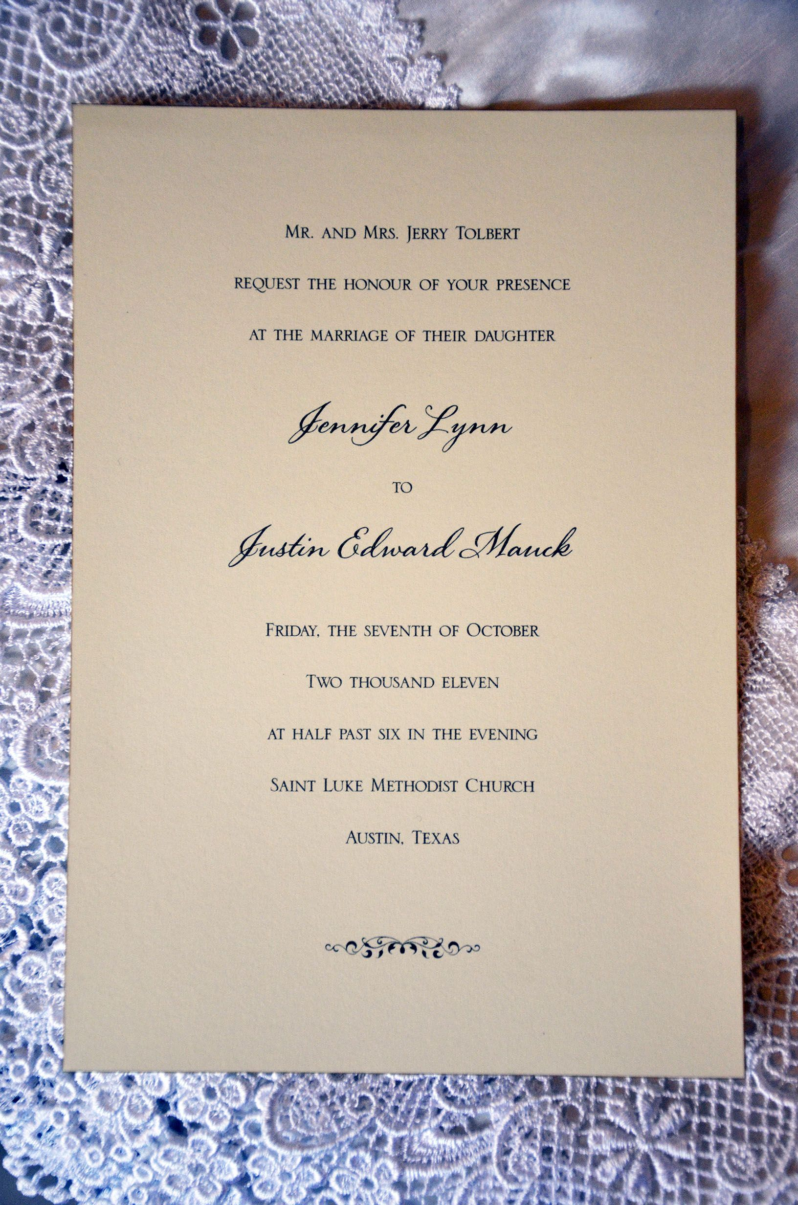 You can never go wrong with a plain traditional wedding invitation. In the tradition of Emily Post, this style looked good 40 years ago and still looks good today.  The use of gray ink and a tiny design motif was all Jennifer and Justin wanted for their Austin wedding.  www.worksonpaperaustin.com