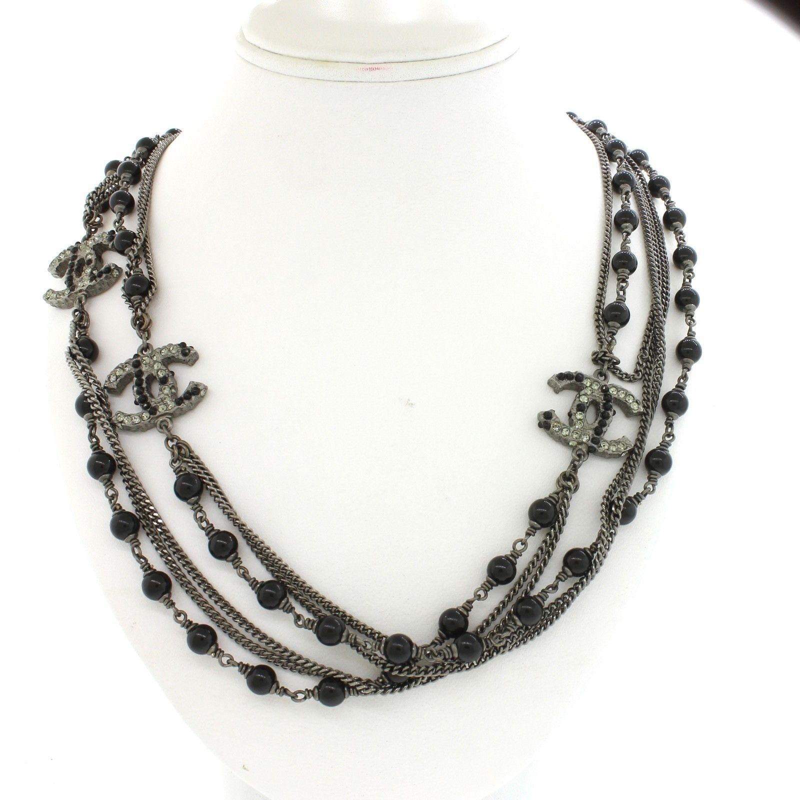 chains and chain with pin necklace chanel crystals