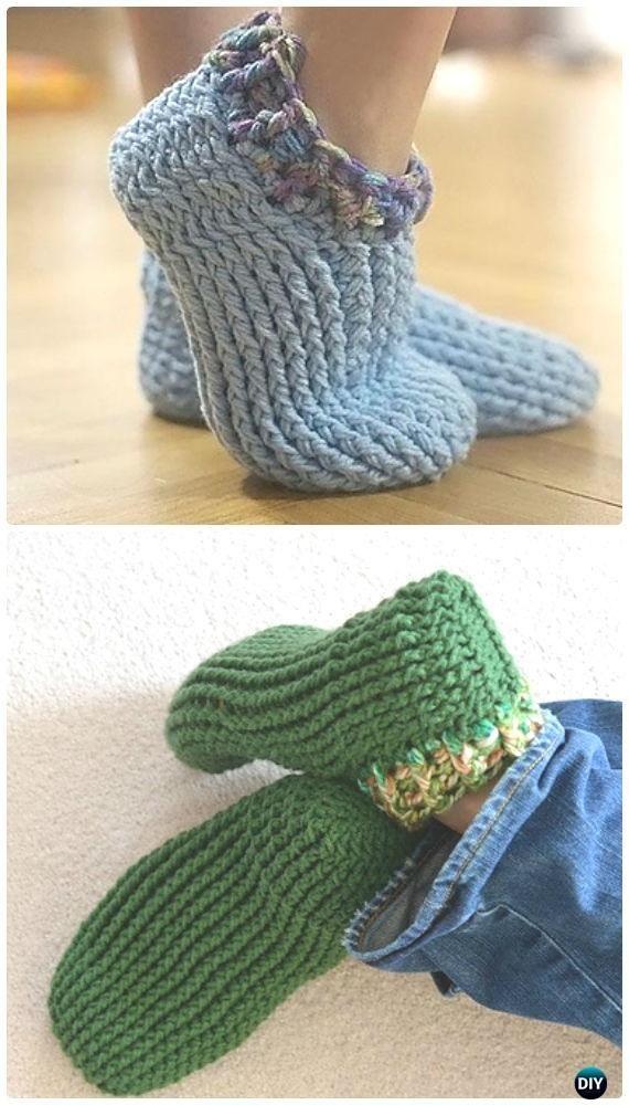 Crochet Adult Chunky Slippers Free Pattern - #Crochet Women Slippers ...