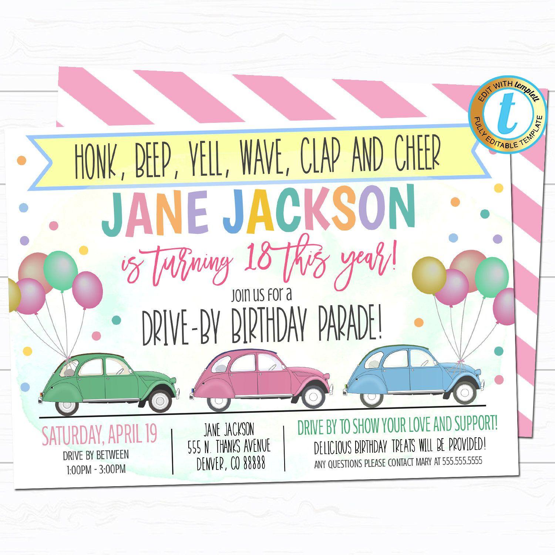 Drive By Birthday Parade Invitation Virtual Birthday Party