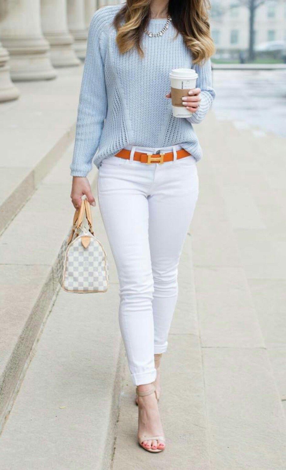 Basico Del Guardarropa Jeans Blanco Ropa Casual De Negocios Ropa Casual Ropa De Moda