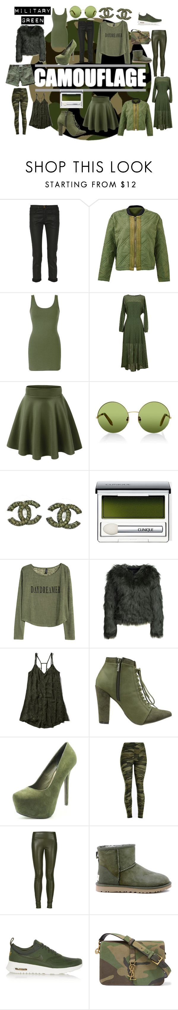"""Military Green"" by deannastraub ❤ liked on Polyvore featuring Current/Elliott, Free People, BKE core, TIBI, Victoria, Victoria Beckham, Chanel, Clinique, H&M, ONLY and Abercrombie & Fitch"