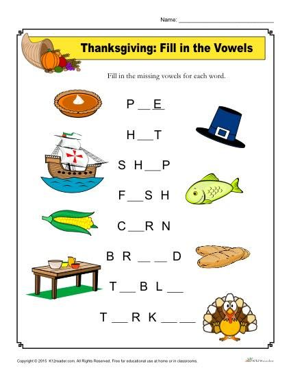 thanksgiving worksheet activity holiday classroom activities thanksgiving worksheets vowel. Black Bedroom Furniture Sets. Home Design Ideas