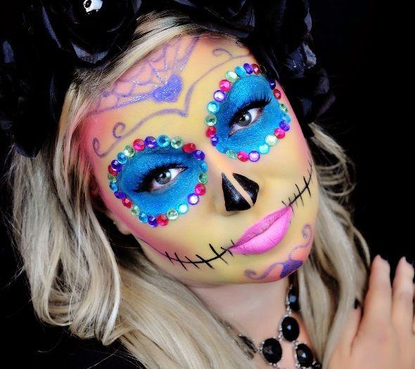 maquillage squelette mexicain bleu