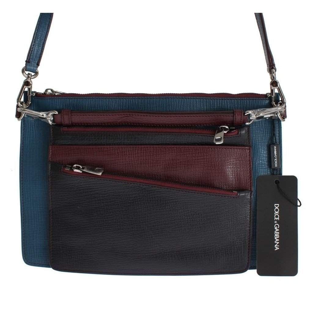 Dolce & Gabbana Blue Leather Shoulder Cross Body Messenger Bag Purse