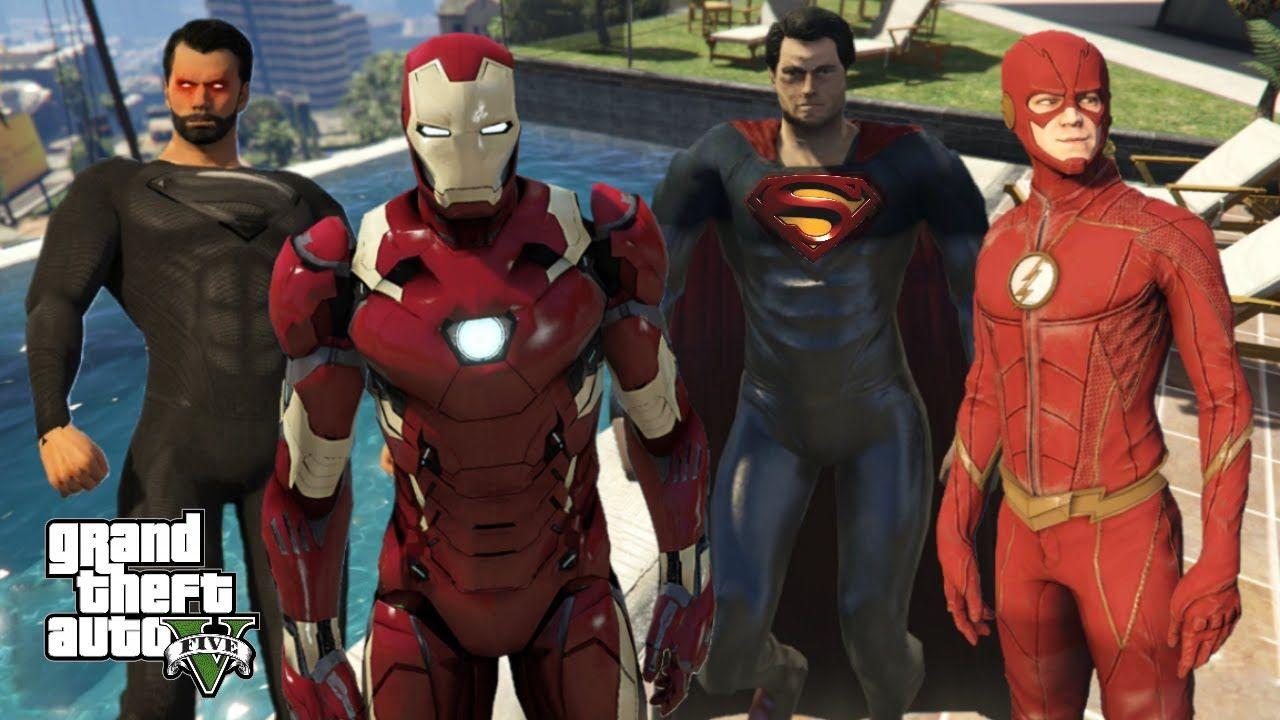 GTA 5 SUPERMAN EVIL vs SUPERMAN RETURNS | IRON MAN | THE FLASH | 4K