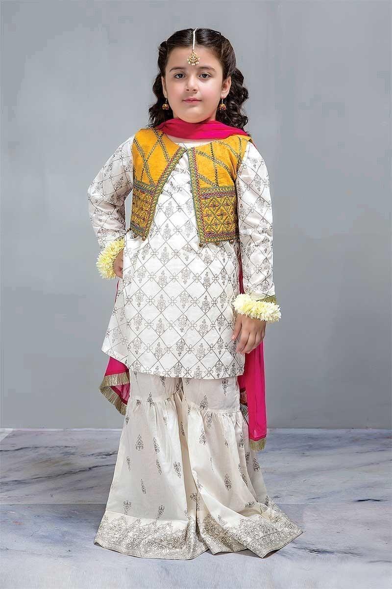 Maria B Kids Kurta Gharara With Short Embroidered Jacket K808 Pakistani Kids Dresses Stylish Dresses For Girls Kids Kurta