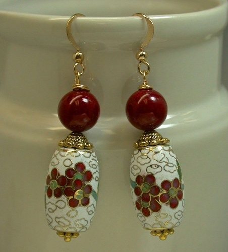 Vintage Chinese White Cloisonne Barrel Bead Earrings,Red Chalcedony | EurekaEureka - Jewelry on ArtFire