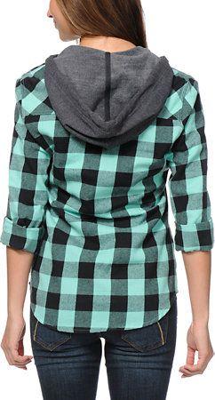 fd994d72 Empyre Girls Bristol Mint Buffalo Plaid Hooded Flannel Shirt at Zumiez : PDP