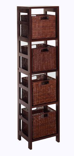 Winsome Leo Storage Shelf With 4 Wire Frame Baskets   Bed Bath U0026 Beyond  I  Would Love To Have This In My Utility Room