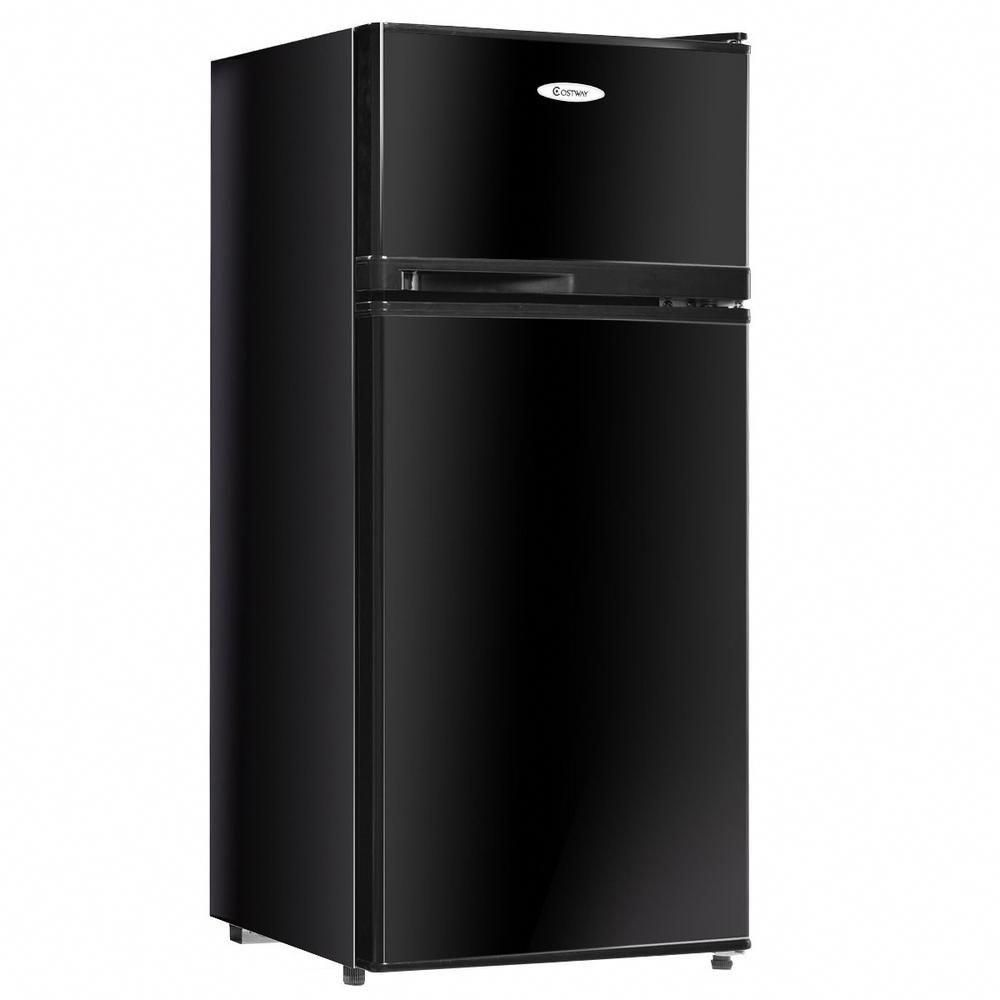 Costway 3 4 Cu Ft Unit Stainless Steel Compact Mini Fridge Freezer Cooler 2 Doors In Black Ep22756bk The Home Depot In 2020 Mini Fridge With Freezer Compact Refrigerator Refrigerator