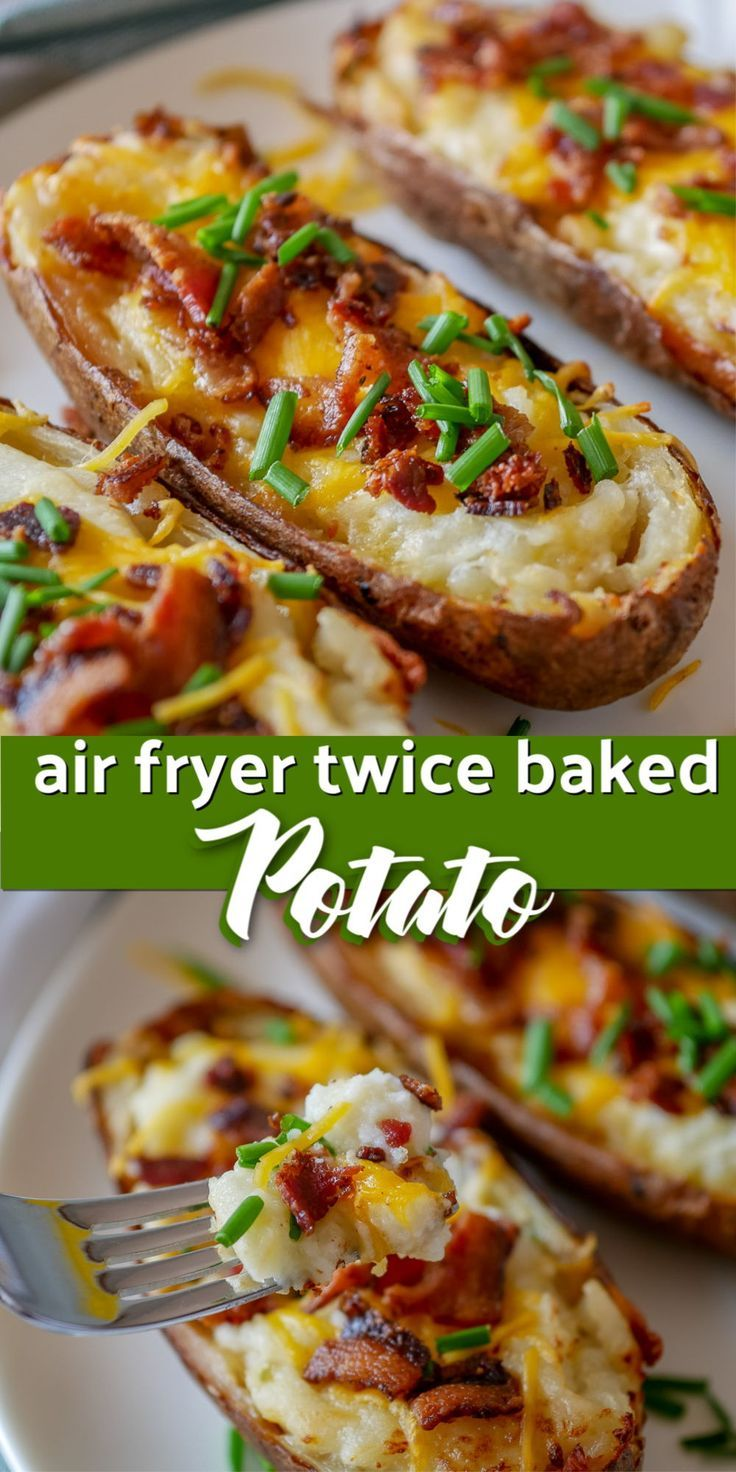 These easy air fryer twice baked potatoes are a creamy and