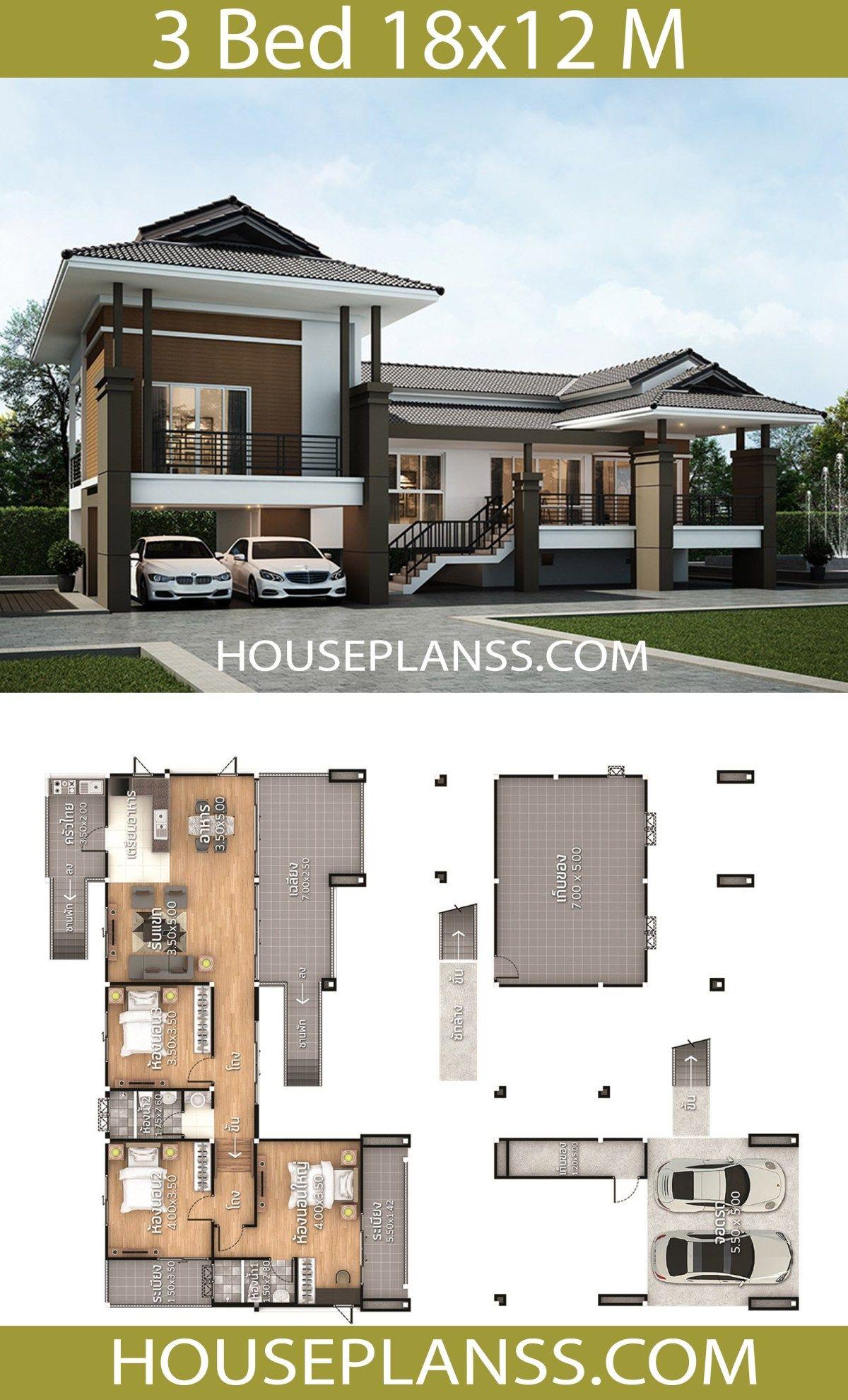 House Plans Idea 18x12 With 3 Bedrooms House Plans 3d In 2020 Home Design Plans House Outside Design House Architecture Design