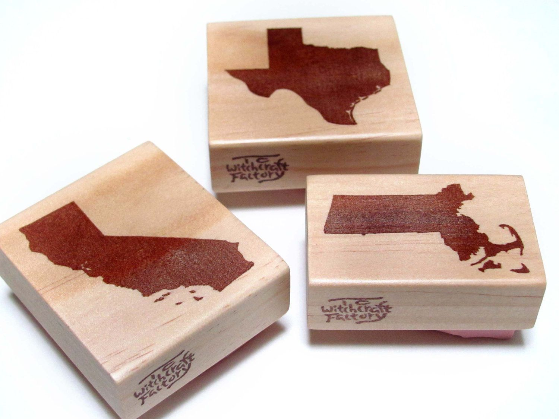 State Stamp set of 2, Hand Carved Rubber Stamp. $13.50, via Etsy.