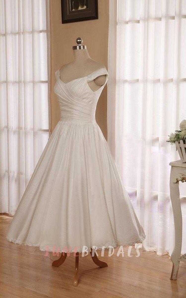 Wedding dresses tea length  VNeck Sleeveless Button Back TeaLength Satin Wedding Dress
