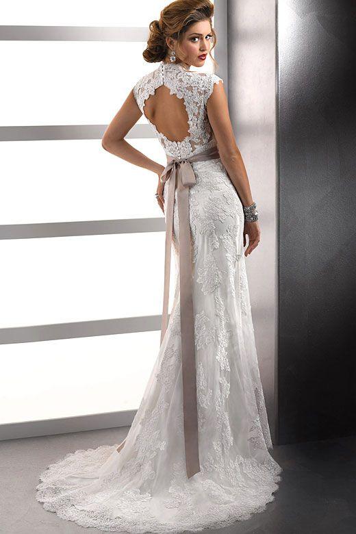 Beautiful Backless Lace Wedding Dresses | Lace wedding dresses, Lace ...