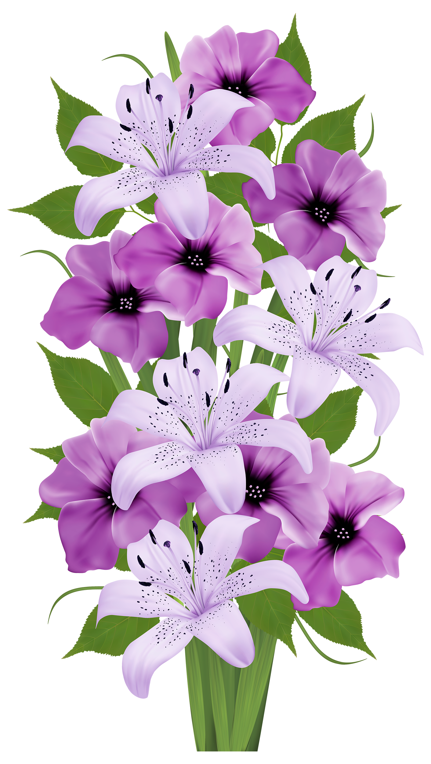 Purple Lilies Bouquet Clip Art Everyday For Cards Scrapbooking