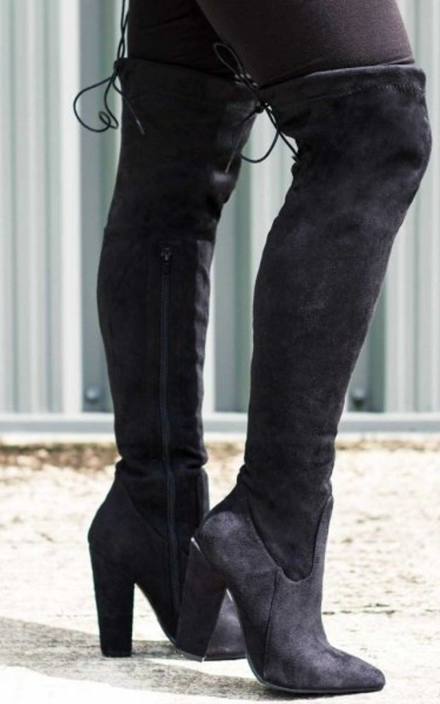 Osca Lace Up Thigh High Boots Black Suede Style | High boots, Lace ...