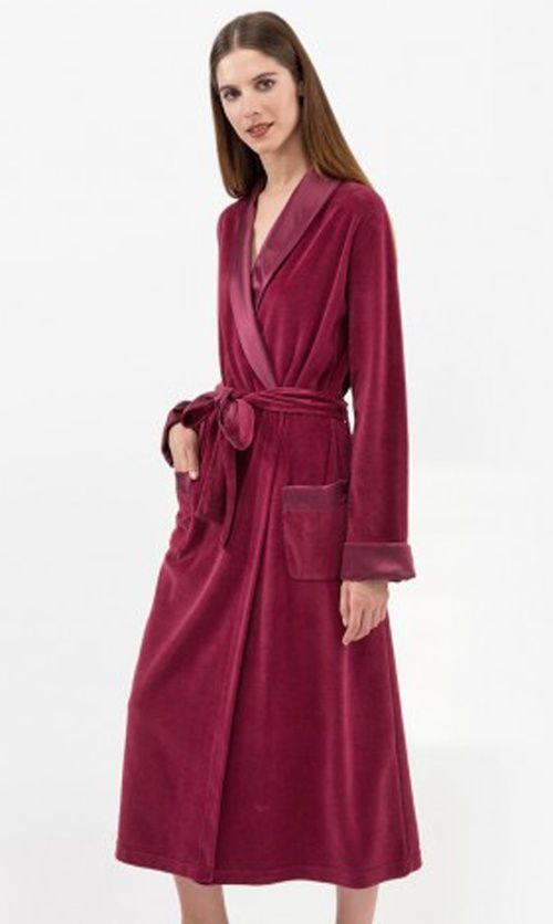 Ladies Grape Cotton Mix Velour Robe | Best Women\'s Dressing Gowns ...