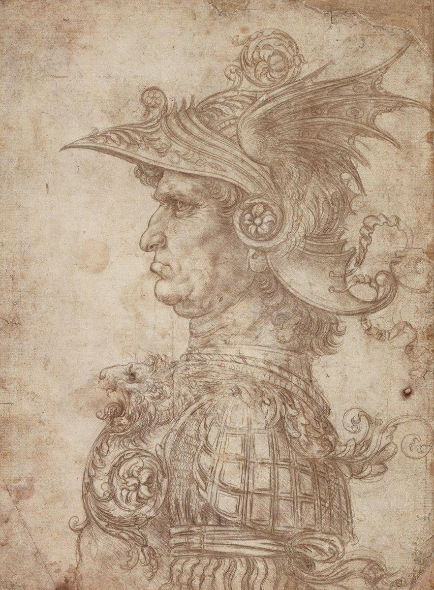 Leonardo's Head of a Warrior, the magnificent silverpoint which was in our #Metalpoint show last year... He drew it when he was in his early 20s as a dazzling display of his technical ability. The more you look the more beautiful it becomes!