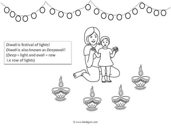 Diwali Coloring Page With Hindi Vocabulary Happy Diwali