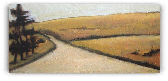 Rural Road  Original Acrylic Painting Landscape by VESNAsART