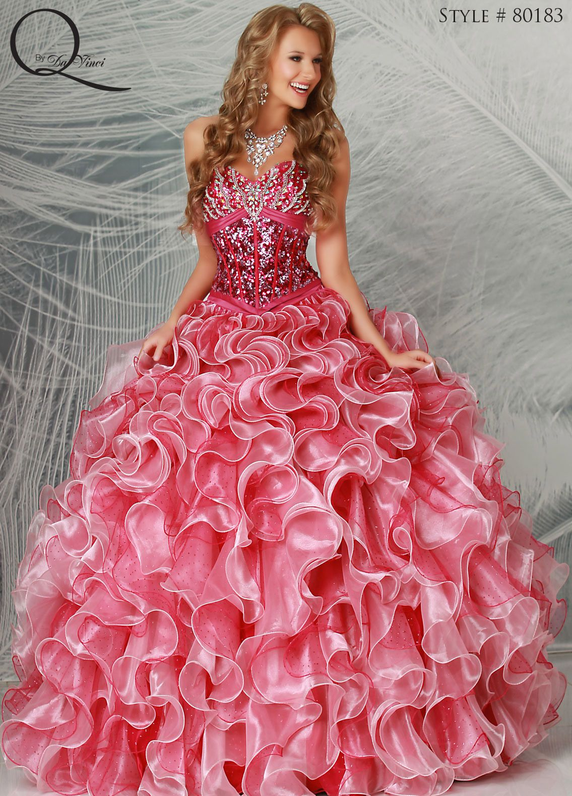 f176224687d Hot pink Quinceanera dress ~ Quinceanera dresses from Q by Davinci  quince  XV años. Available in Fuchsia Flamingo