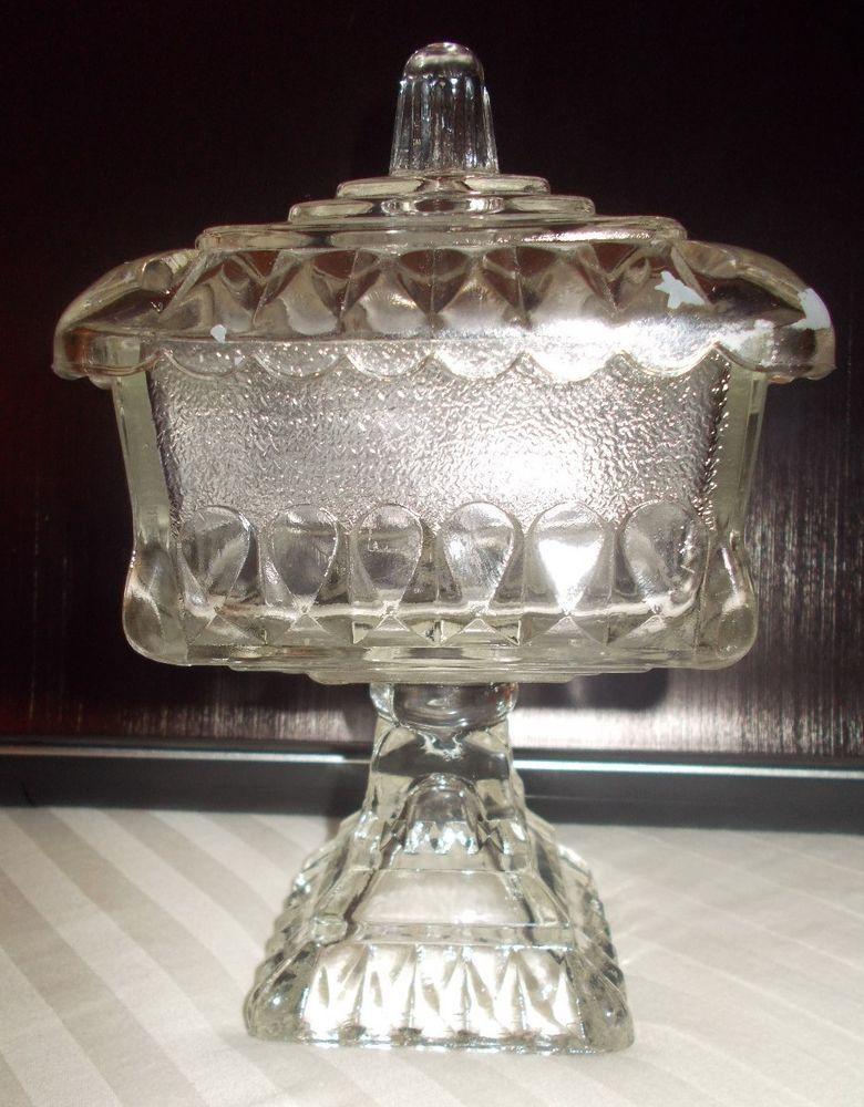 Antique vintage clear glass pedestal wedding box