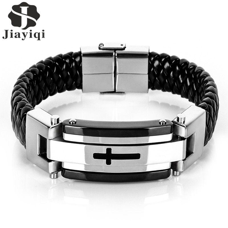Men Biker Pin Buckle Weave Braided Adjustable Bracelet Wrist Chain 22cm Long