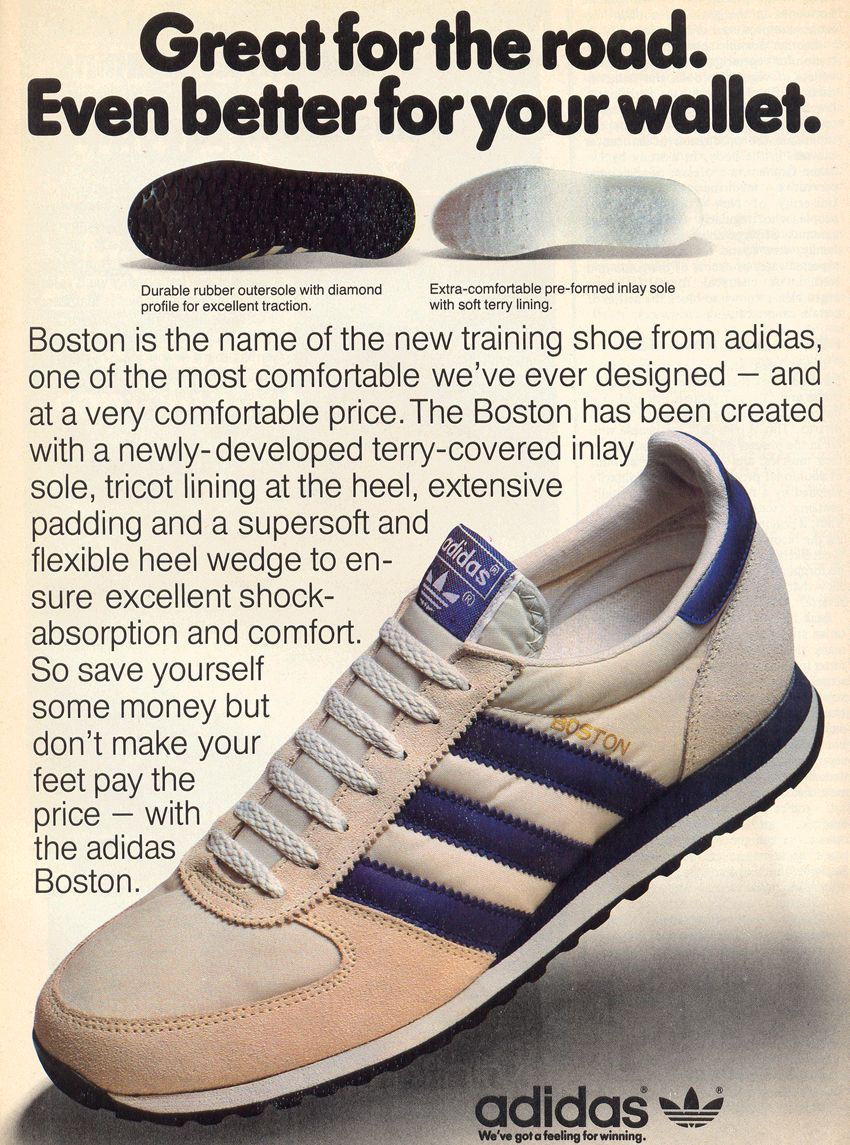 Adidas 1980s Great For The Road Even Better For Your Wallet Advertising Oldads Vintageads Vintage Sneakers Adidas Shoes Outlet Vintage Adidas