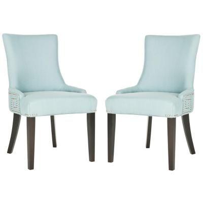 Safavieh Gretchen Birchwood Cotton and Linen Side Chair in Light Blue (Set of 2)-MCR4718B-SET2 - The Home Depot