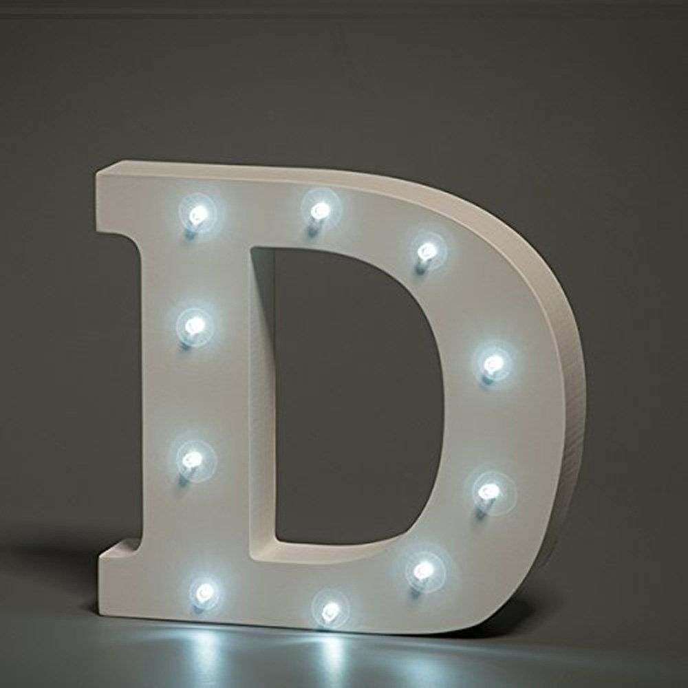 White LED Wooden Letter D Lights Sign - 6 Inch Wooden ...