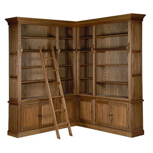 Large Oak Corner Library Bookcase With Ladder – Library Bookcase with Ladder