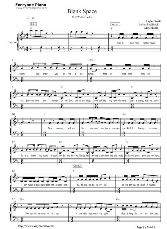 Free Blank Space Taylor Swift Sheet Music Preview 1 With Images