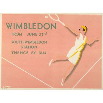 Tennis Sport Wimbledon Championship London England Vintage Poster Repo FREE S//H