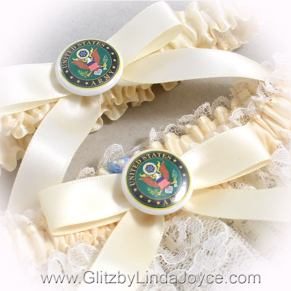 Glitz by Linda Joyce - US Army Wedding Garter Set Ivory Lace ...