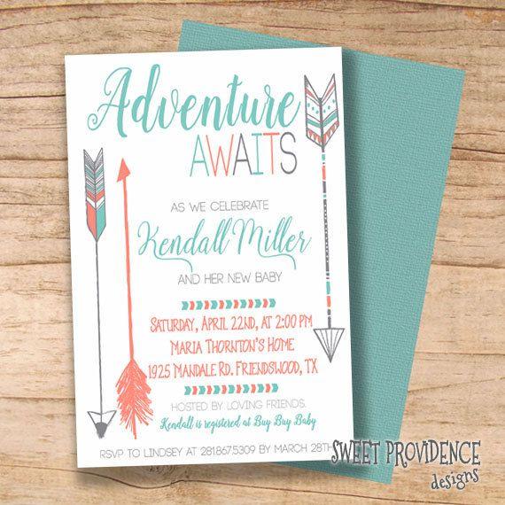 adventure shower invitation/ adventure awaits baby shower, Baby shower invitations