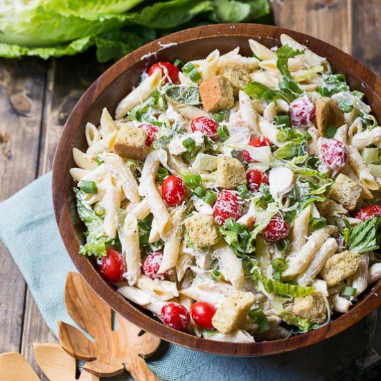 Chicken Caesar Pasta Salad makes a great summer side dish or light meal.