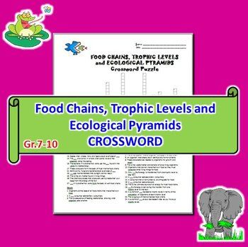 This 28 Question Crossword With Answer Key Is About Food Chains Trophic Levels And Ecological Pyramids Terms And Ecological Pyramid Food Chain Trophic Level