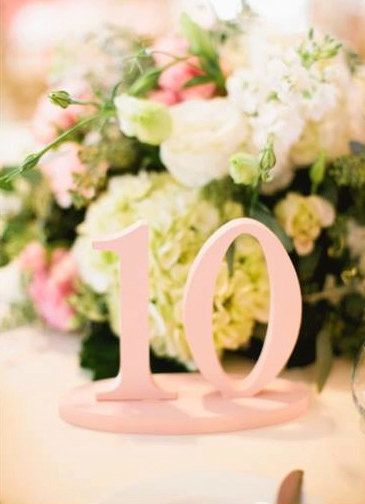 Table Numbers for Wedding or Party Decor SET OF 1-10, Blush Pink ...